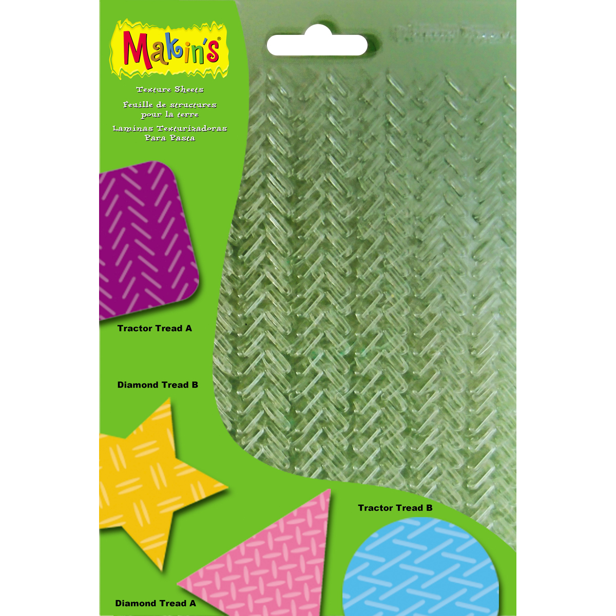 "Makin's Clay Texture Sheets 7""X5.5"" 4/Pkg-Set G (Tractor & Diamond Treads)"