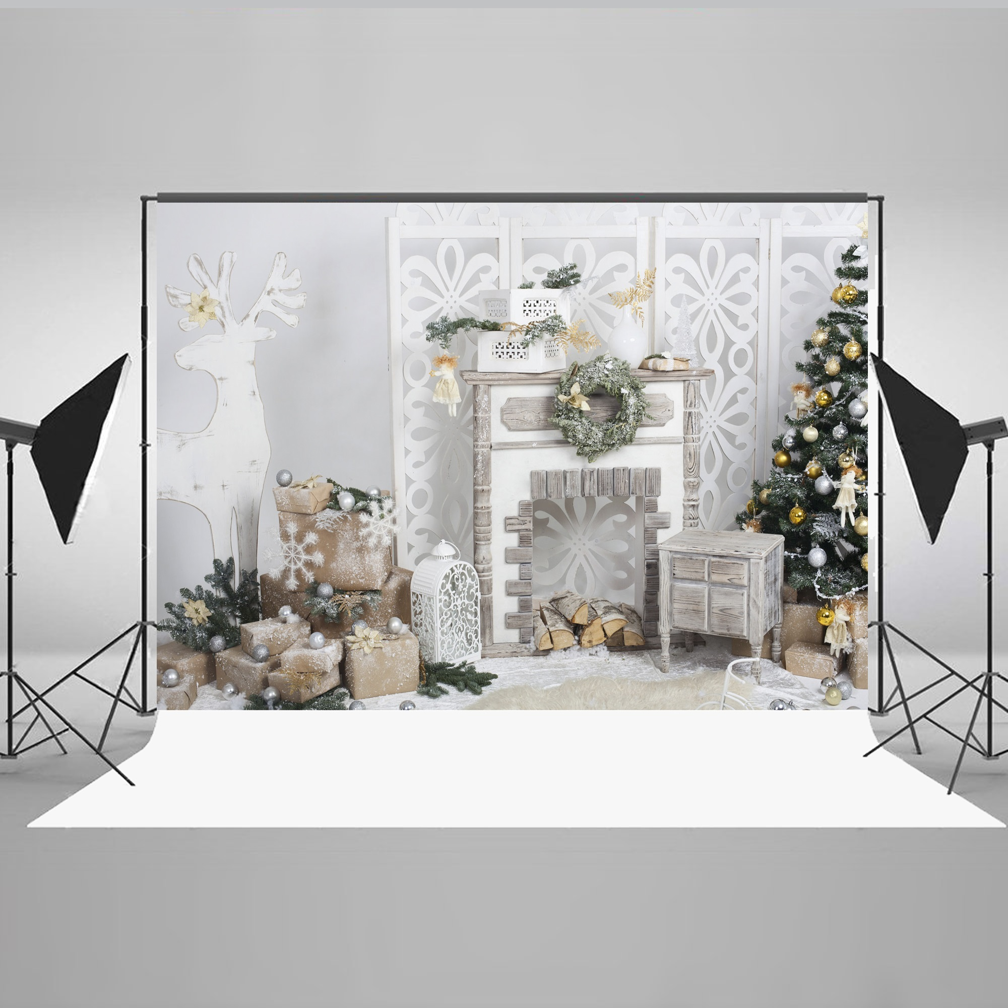 NK HOME Studio Photo Video Photography Backdrops 7x5ft Christmas Great Room Printed Vinyl Fabric Background Screen Props