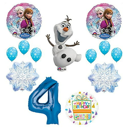 Frozen 4th Birthday Party Supplies Olaf Elsa And Anna Balloon Bouquet Decorations Blue 4
