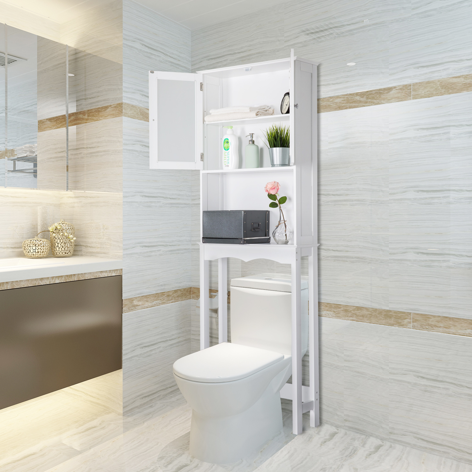 Kinbor Bathroom shelf over the toilet, Space Saver Cabinet ...