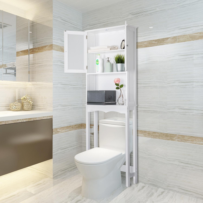 Kinbor Home Bathroom shelf over the toilet, Space Saver Cabinet,Bathroom Cabinet Organizer with Moru Tempered Glass Door White
