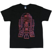 Star Wars Mens T Shirt - Groovy Red and Blue R2D2 Line Drawing on Black