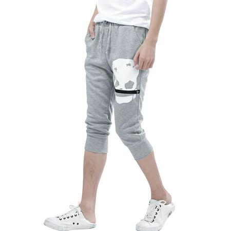 Allegra K Hommes Cordon Taille élastique Sport Décontracté Court Pantalon Noir W30 - Gris Clair, Homme, Tour de Taille 81cm x Standard - image 1 de 8