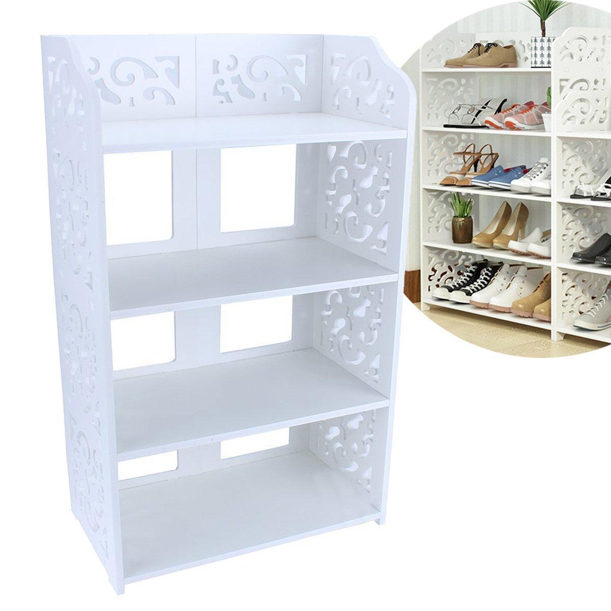 EECOO Home Carved Shoe Cabinet Storage Organiser Shoe Rack Stand Bookshelf CD Display