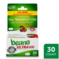 Beano Ultra 800, Gas Prevention and Digestive Enzyme Supplement, 30 Count