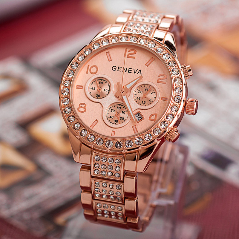 DZT1968® Geneva Women Fashion Luxury Crystal Quartz Watch
