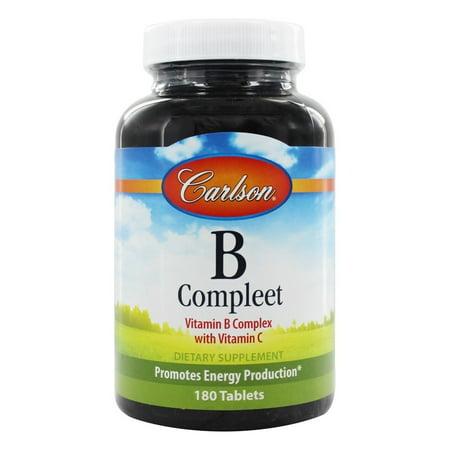 Carlson Labs - B Compleet vitamine B Complexe de vitamine C - 180 comprimés