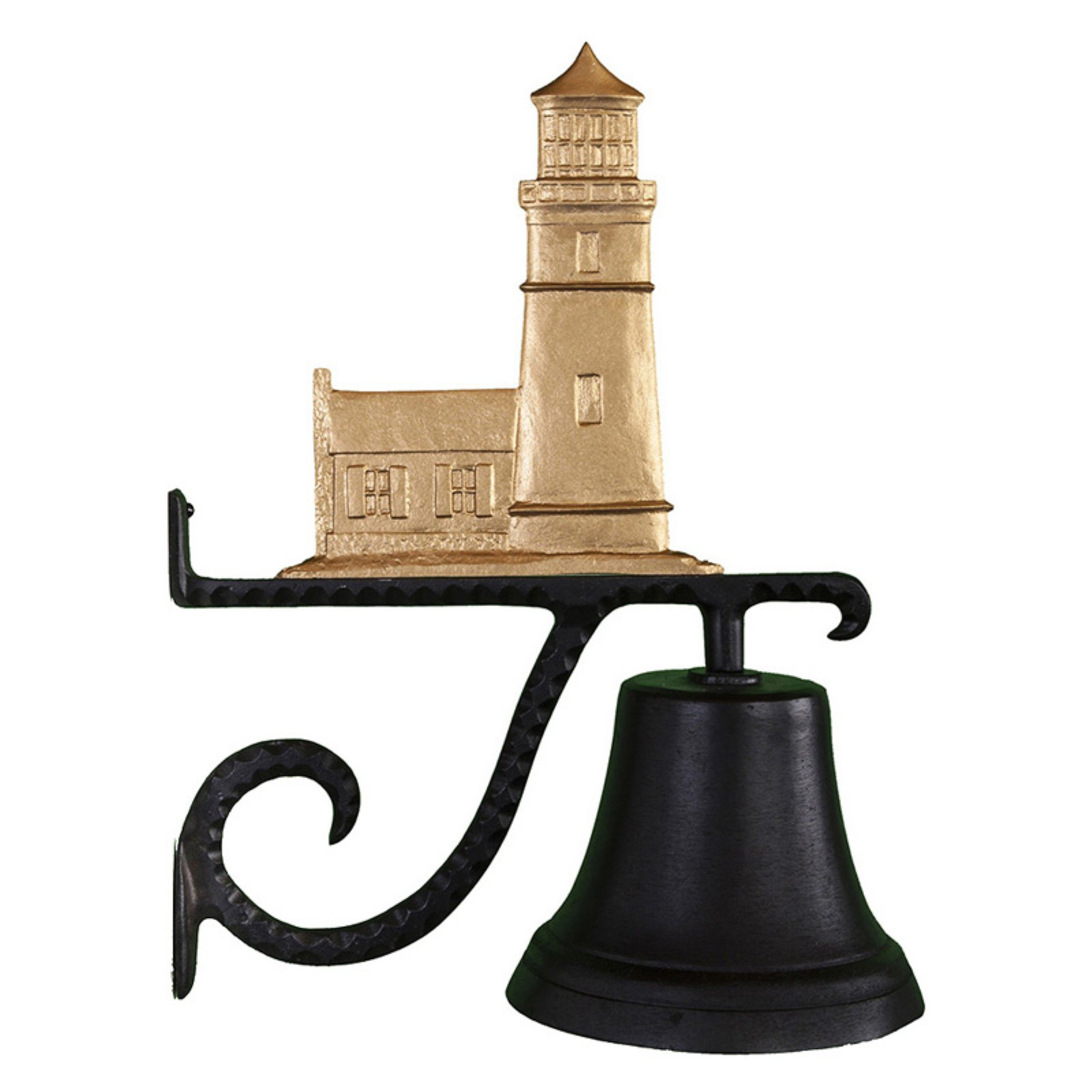 Cast Bell with Gold Cottage Lighthouse Ornament
