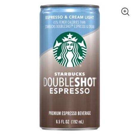 (12 Cans) Starbucks Doubleshot Espresso & Cream Light, 6.5 Fl (Starbucks Unsweetened Iced Coffee 48 Fl Oz)