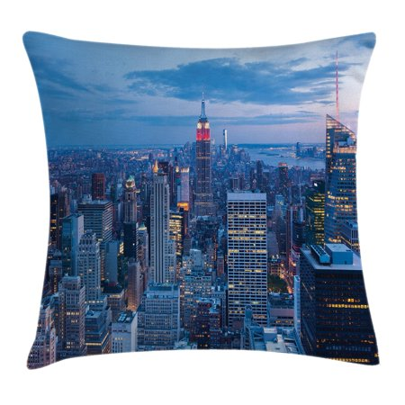 New York Throw Pillow Cushion Cover  Aerial Night View Of Nyc With Dusk Sky Cloudy Sunset In City Fashion Capital Art Photo  Decorative Square Accent Pillow Case  20 X 20 Inches  Blue  By Ambesonne