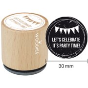 """Woodies Mounted Rubber Stamp 1.35""""-Let's Celebrate It's Party Time"""