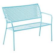 Alfresco Home Martini Blue Wrought Iron Diamond Cut 45 in. Garden Bench