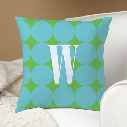 Personalized Blue Polka Dots Pillow