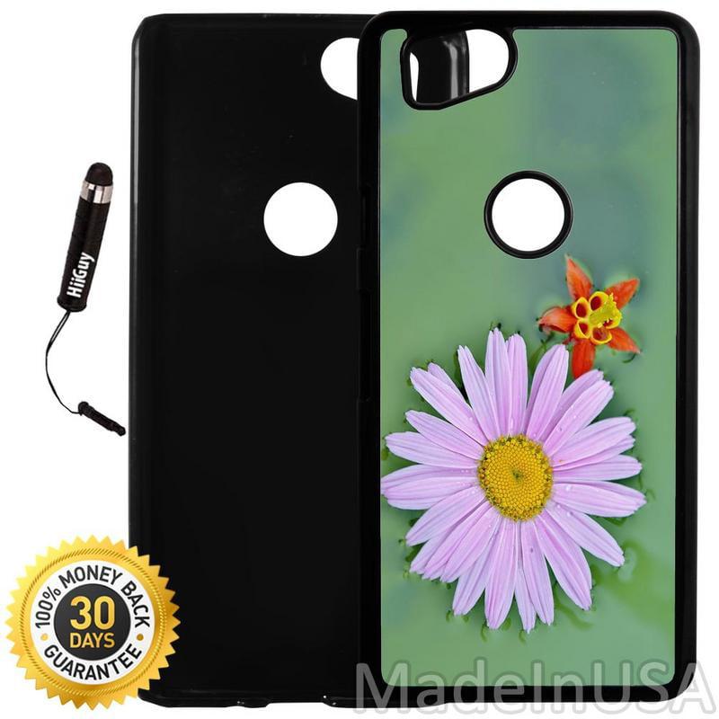 Custom Google Pixel 2 Case (Bright Lilac Flower On Green) Plastic Black Cover Ultra Slim | Lightweight | Includes Stylus Pen by Innosub