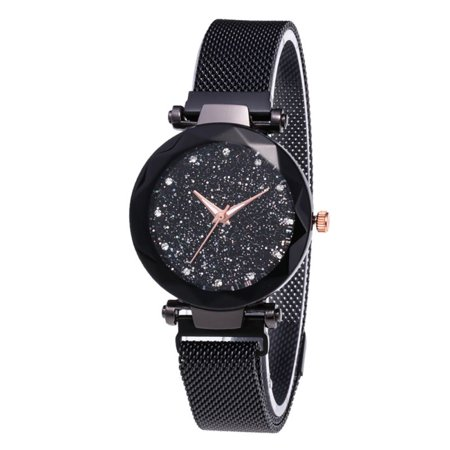 Tinymills Women Lady Starry Sky Watch Waterproof Magnet Stainless Steel Strap Band Best as Birthday
