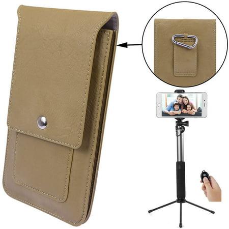 8062f7fd180e BUNDLE: Professional Vegan Leather Vertical Smartphone Holster Wallet (Tan)  & Selfie Stick Mini Tripod 2.0 (Silver) - Belt Loop, Removable Carabiner,  ...
