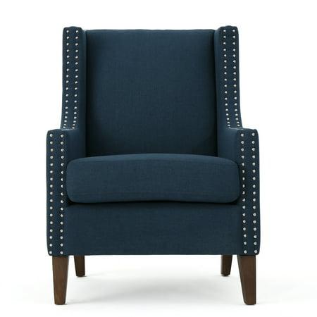 Kaela Traditional Fabric Arm Chair, Navy Blue