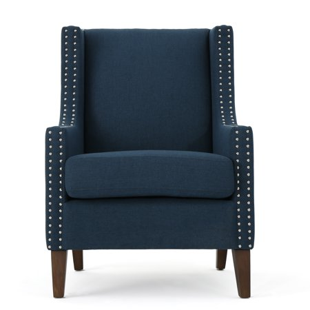 Kaela Traditional Fabric Arm Chair Navy Blue Walmart Com
