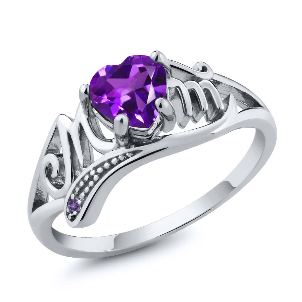 0.41 Ct Genuine Heart Shape Purple Amethyst Gemstone Sterling Silver Mom Ring