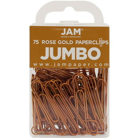 JAM PAPER Colorful Jumbo Paper Clips - Large 2 Inch (50.8 mm) - Rose Gold Paperclips - 75/Pack - image 1 of 4