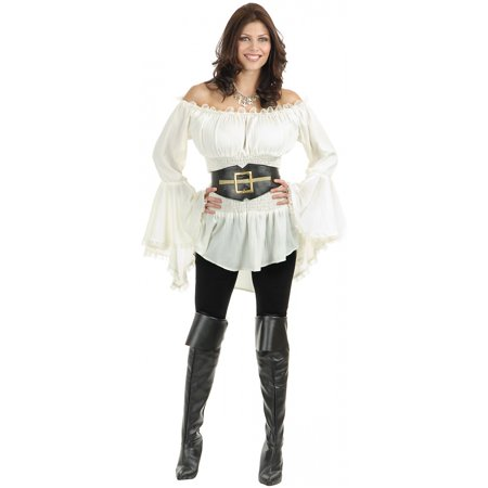 Pirate Lady Vixen Blouse Adult Costume - Medium - Vixen Pirate Halloween Costume