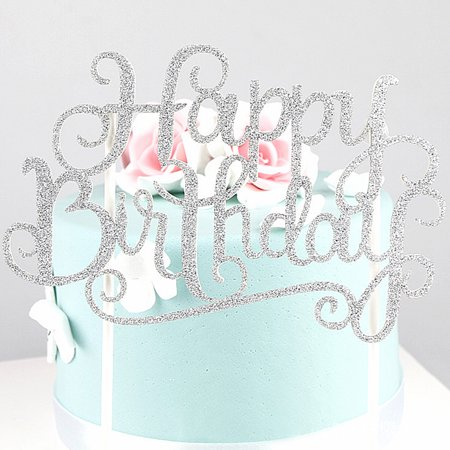 HAPPY BIRTHDAY Cake Pick Topper Sparkly Glitter Party Favour Gift