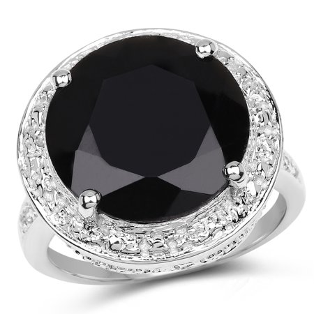 - 925 Sterling Silver Genuine Black Onyx and White Topaz Ring (8.48 Carat) Multiple Sizes