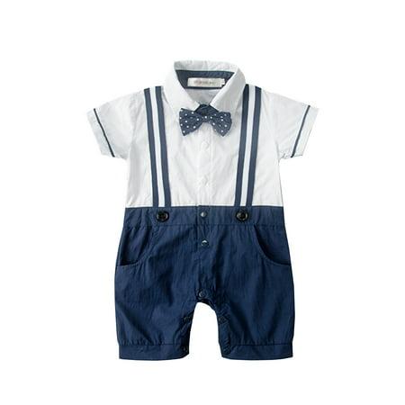 Baby Tuxedo Romper (StylesILove Baby Boy Dotted Bowtie Faux Suspenders Tuxedo Romper (6-12)