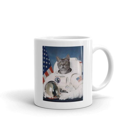 Cat Astronaut Catstronaut Funny Novelty Humor 11oz White Ceramic Glass Coffee Tea Mug Cup Ceramic Cat Mini Tea Set