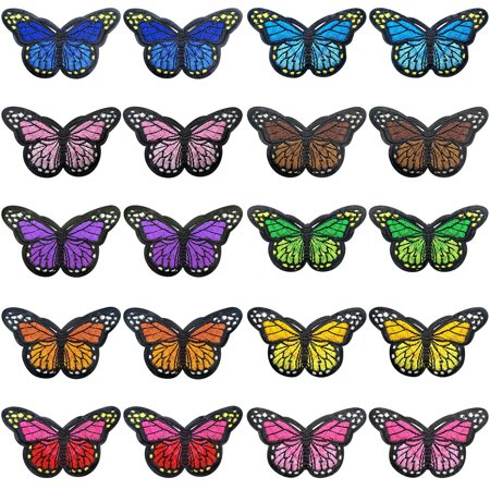 20 Pieces Butterfly Iron on Patches Embroidery Applique Patches for Arts Crafts