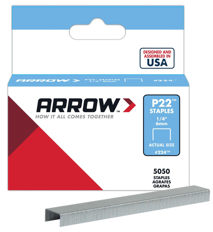 "ARROW P22 Staples, #224 1/4"" (6mm), 5000 per box"