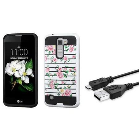 Insten Fresh Roses Hard Hybrid Rubber Case For LG K7 / Tribute 5 - Pink/White (+ USB Data Charge (Rose Pink Hard Rubber)