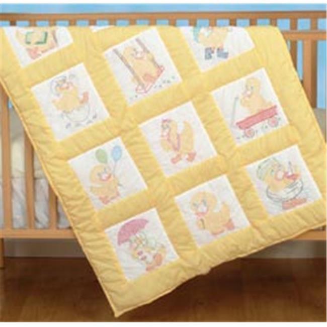 302385 Stamped White Nursery Quilt Blocks 9 in. x 9 in. 12-Pkg-Baby Ducks