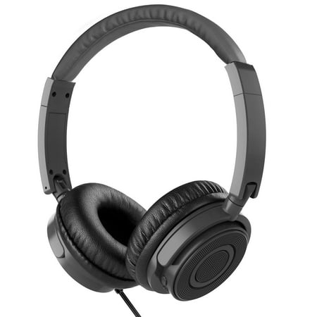 On Ear Headphones with Mic, Vogek Wired Foldable Bass Headphones with Volume Control and Microphone-Gray