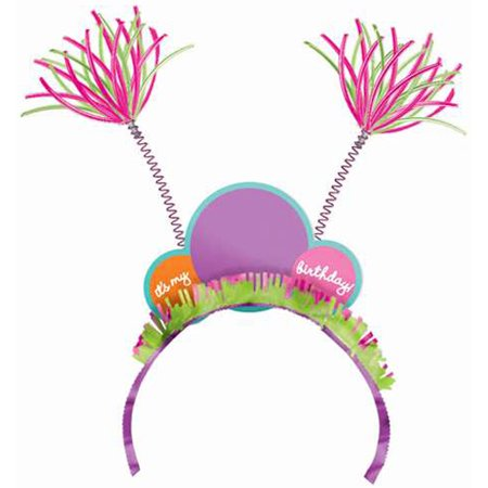 Happy Birthday 'Dots and Stripes' Customizable Novelty Headband (1ct) (Happy Birthday Headband)