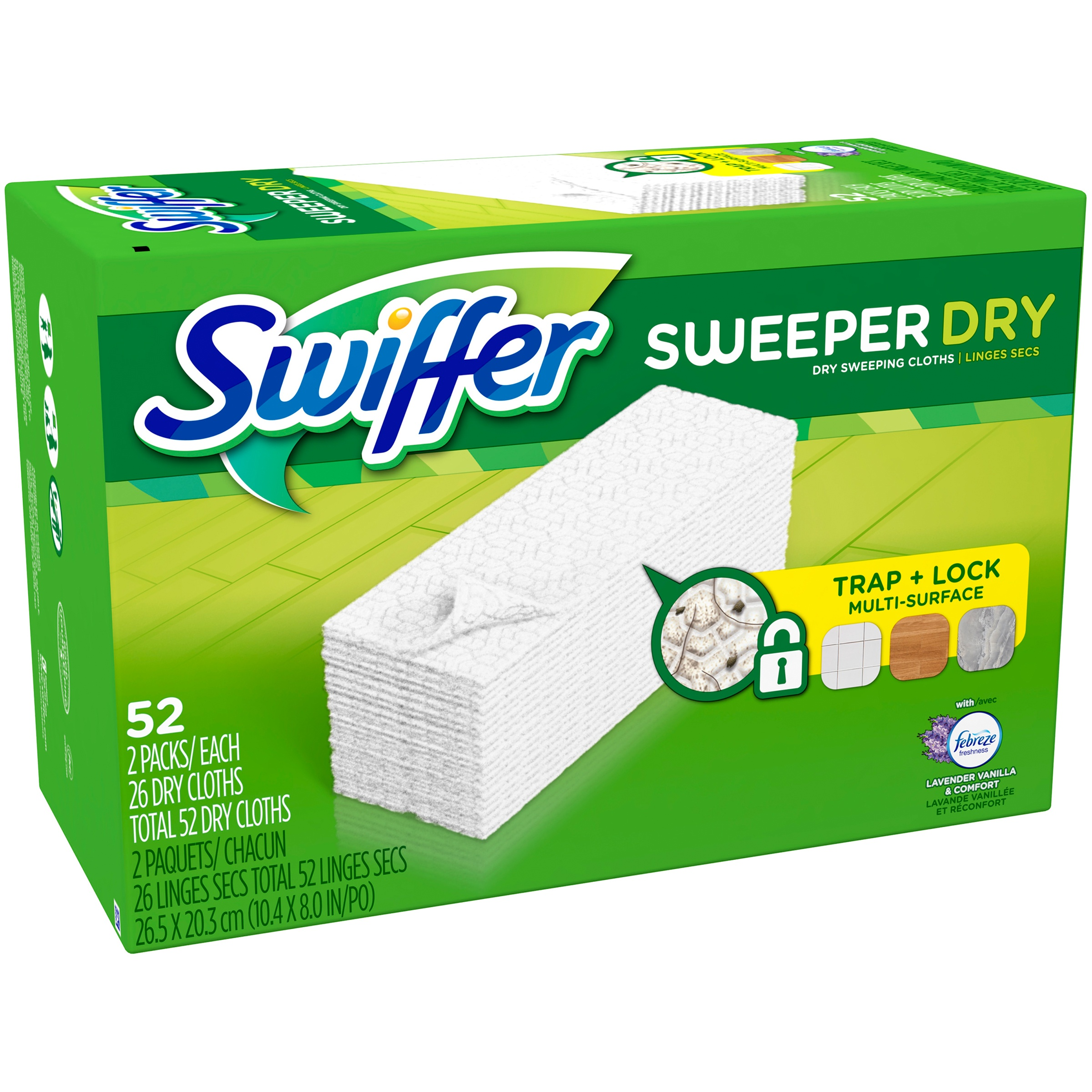 Swiffer Sweeper Dry Sweeping Pad, Multi Surface Refills for Dusters Floor Mop, Lavender & Vanilla Comfort, 52 Count
