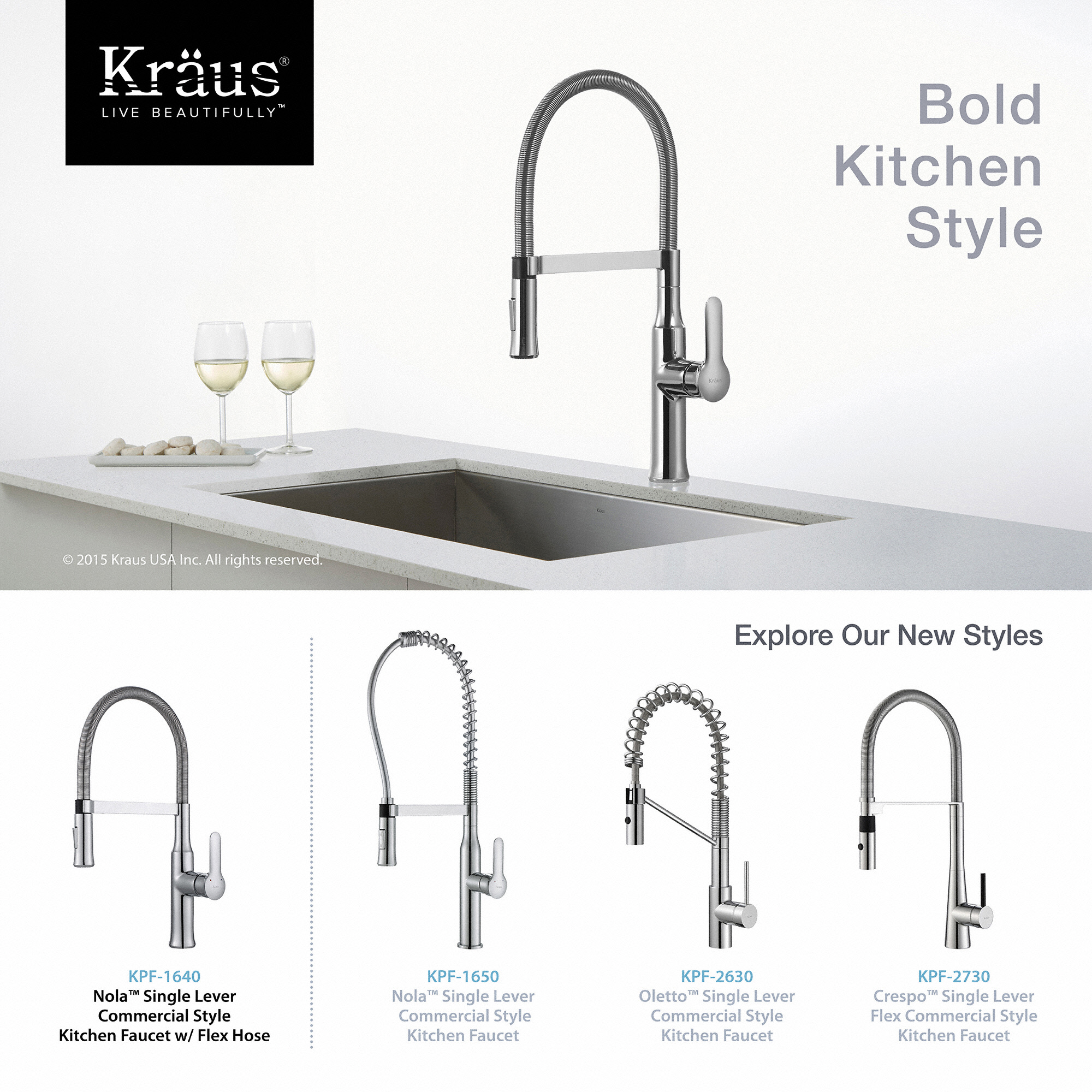 Kraus Nola Flex Single Handle Commercial Style Kitchen Faucet With Dual Function Sprayer In Chrome