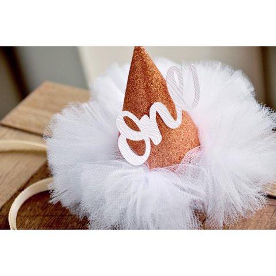 1f718539f2e First Birthday Hat. Rose Gold Birthday Hat. Smash Cake Hat. Winter  Onederland Mini Party Hat. - Walmart.com