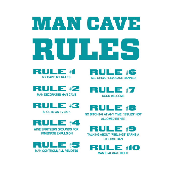 Man Cave Rules Vinyl Graphic - Large