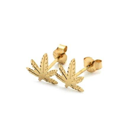 14k Yellow Gold Marijuana Leaf Stud Earrings 14k Gold Leaf Earrings