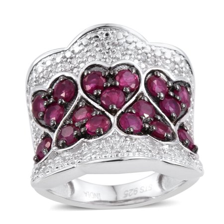 925 Sterling Silver Platinum Plated Round Ruby Zircon Anniversary Ring for Women Cttw 2.4 (Ruby July Birthstone Womens Ring)
