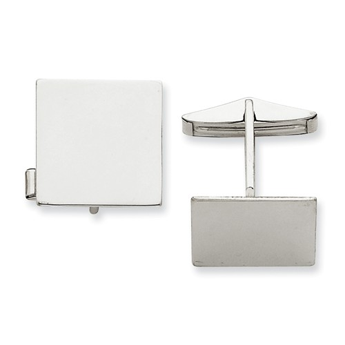 14K White Gold Engravable Square Cuff Links