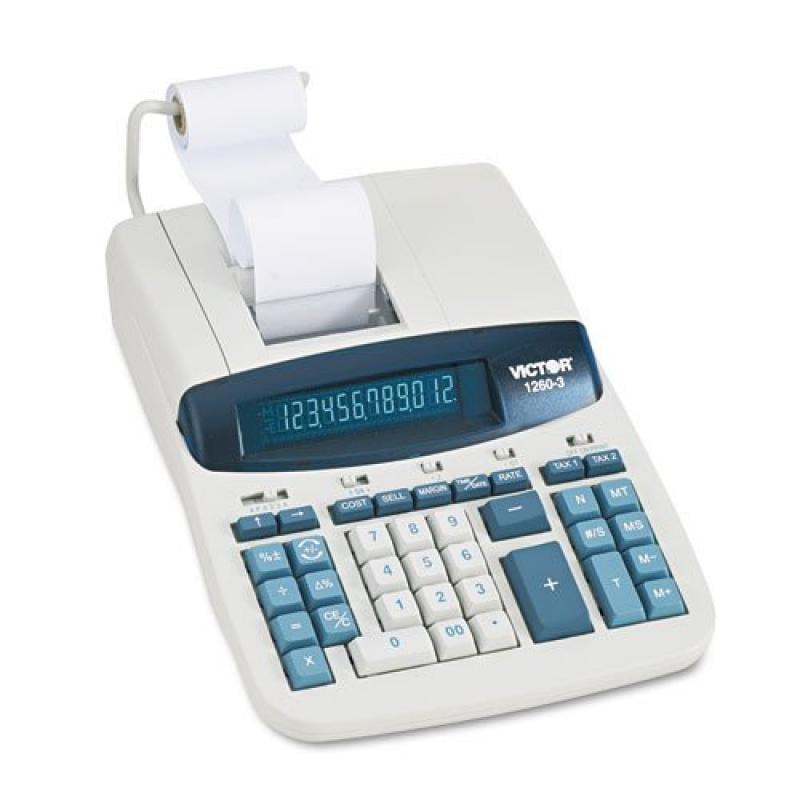 Victor - 1260-3 Two-Color Heavy-Duty Printing Calculator, Black/Red Print, 4.6 Lines/Sec 1260-3 (DMi EA