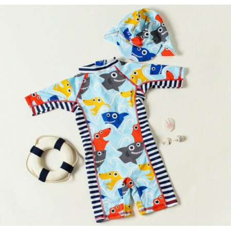 Kids Baby Boy Girls Shark Costume Rash Guard Sun Protective Surf Beach Cap Swimwear Beachwear
