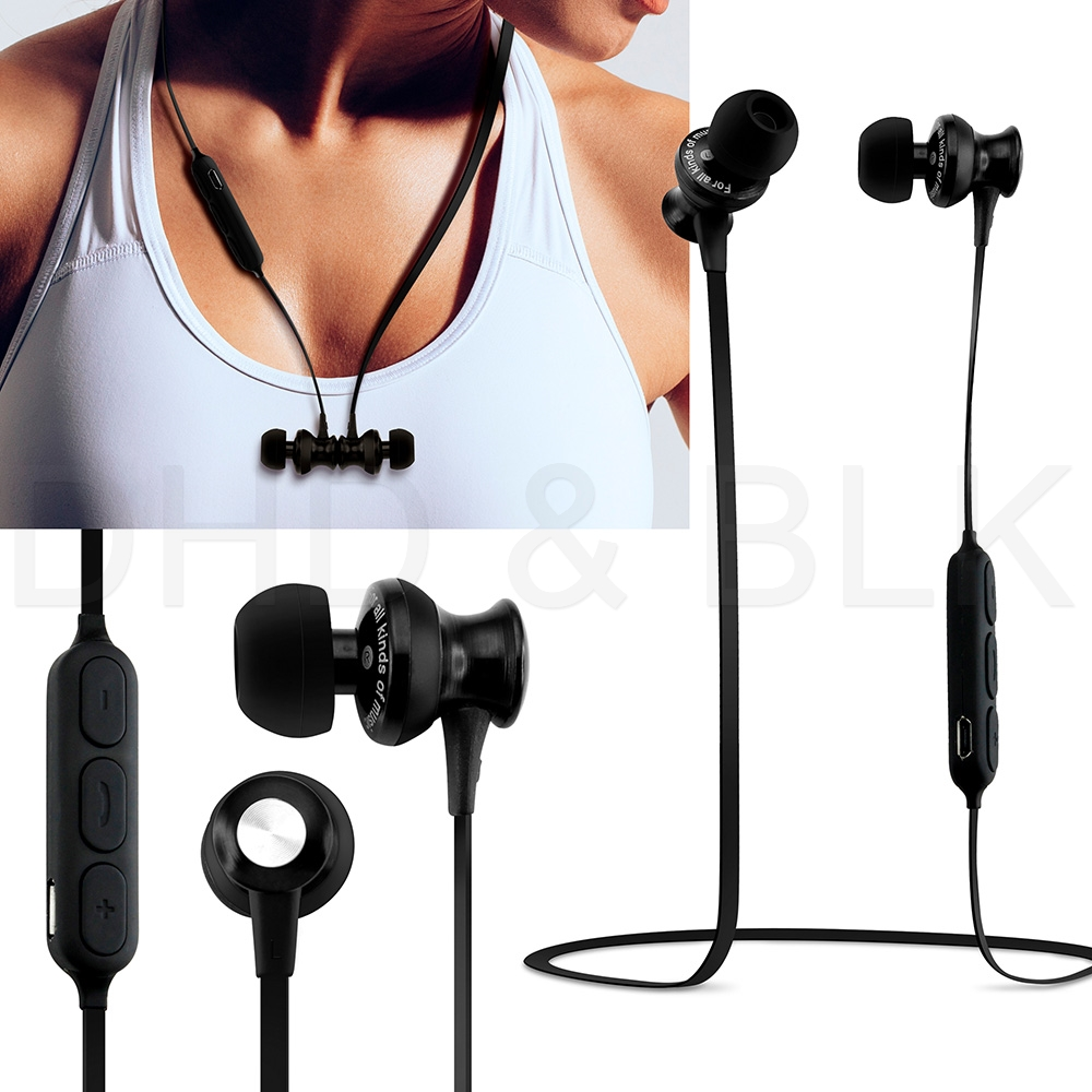 Bluetooth Earbuds Earphones Headsets Magnet Wireless Stereo Earbud Bass Sports Headphones with Mic - Black