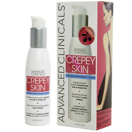 AC Crepey Skin Wrinkle Smoothing Cream for body, neck, decollete. Anti-Aging Cream With Collagen, Shea Butter, and Hyaluronic Acid. Large 4oz bottle with