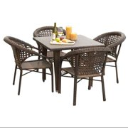 5-Pc Eco-Friendly Outdoor Dining Set in Multi Brown Finish