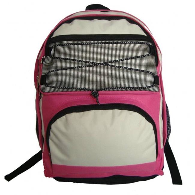 K-Cliffs 18 in. Backpack With 2 Main Compartments - Hot Pink & Beige