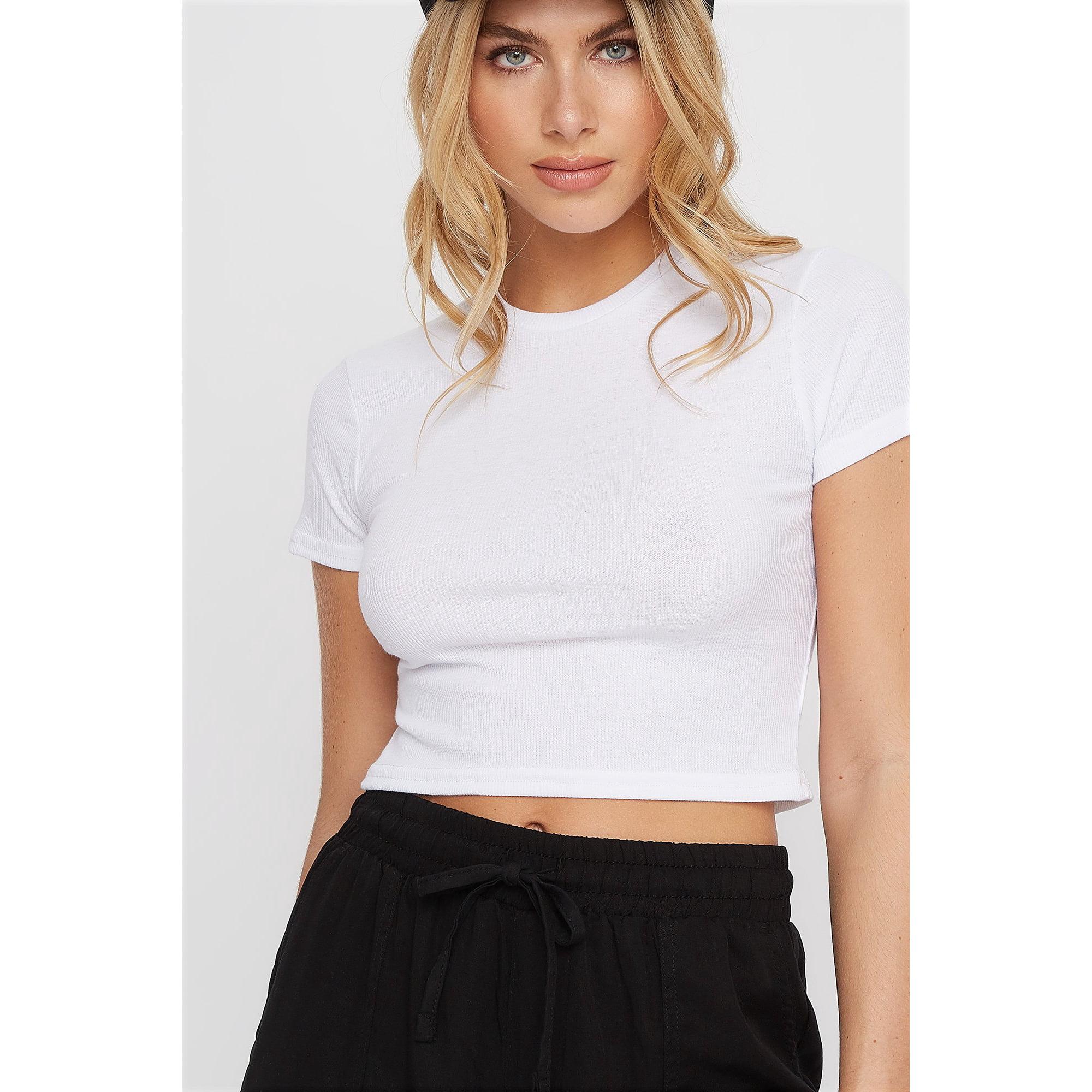 32645f59 Urban Planet Women's Ribbed Crew Neck Cropped T-Shirt | Walmart Canada