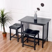 costway 3 pcs modern counter height dining set table and 2 chairs kitchen bar furniture - Kitchen Table Counter